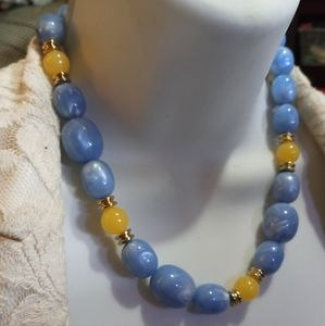 Vintage blue and yellow Necklace